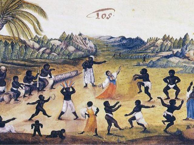 Negros dançando. Pintura de Zacharias Wagener