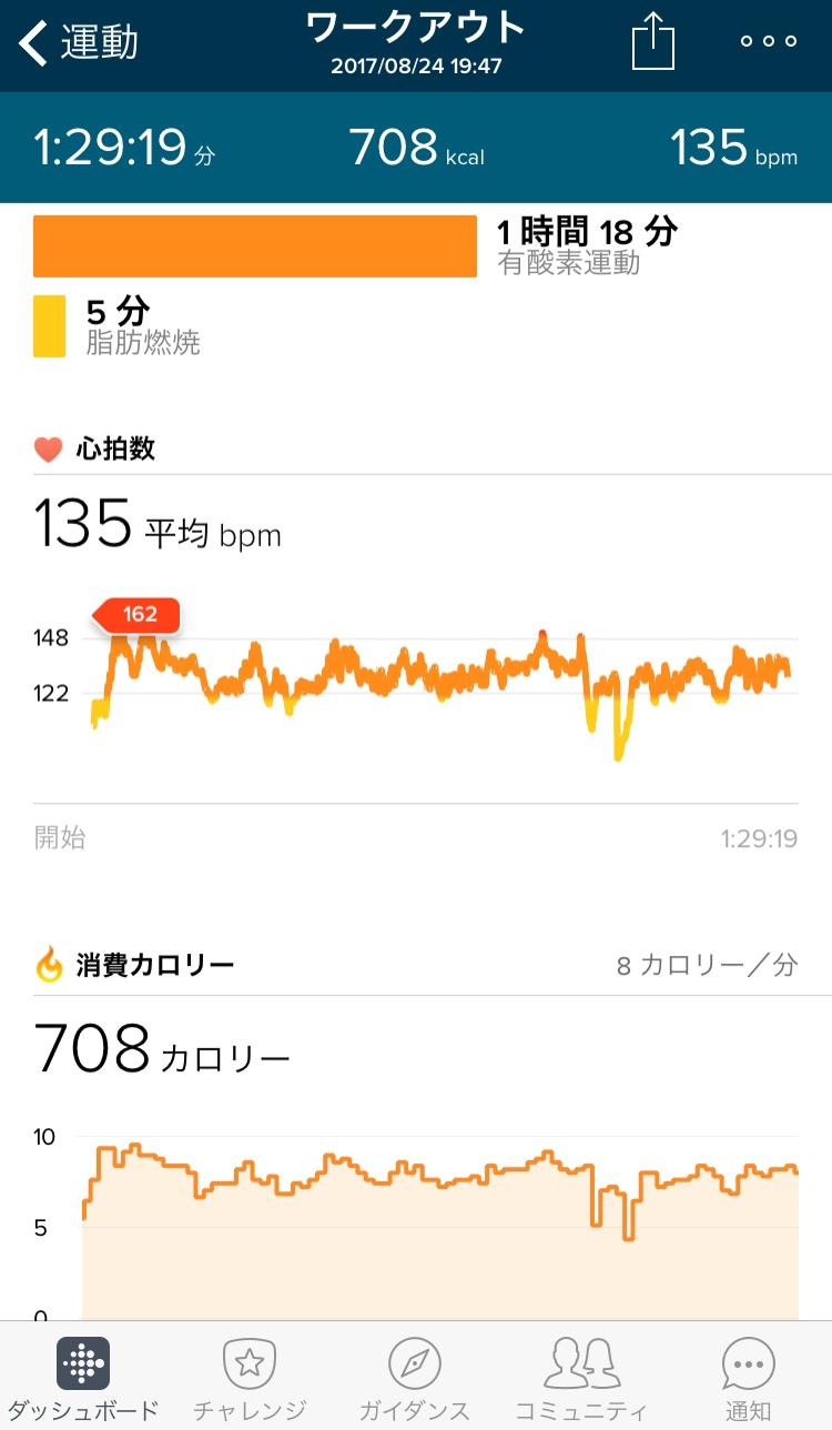 カポエイラワークアウト2017.08.24消費カロリー